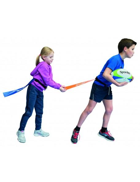 Lot de ceintures flag rugby Spordas orange ou bleu pour les enfants