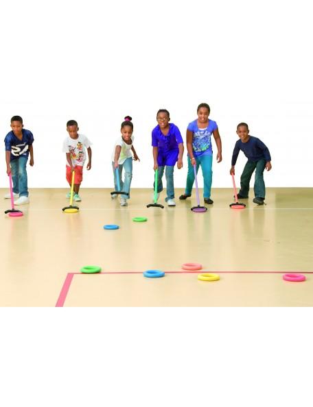 Jeu du palet, jeu sportif scolaire pour enfants avec stick pour pousser les palets. Kit de 6 sticks de jeu du palet.