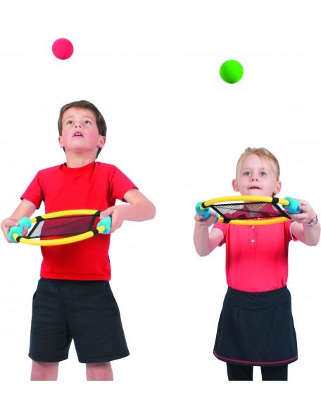 6 raquettes sauteuses trampoline pour faire rebondir les balles très facilement. Raquettes sauteuses adaptées aux enfants