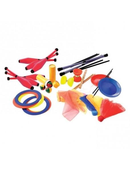 Kit de jonglerie scolaire pour 15 enfants avec massues, balles à jongler, assiettes. Matériel de jonglerie scolaire pas cher