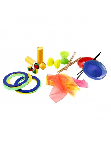 Kit de jonglerie scolaire pour 10 élèves avec anneaux, massues, balles de jonglage à acheter pas cher