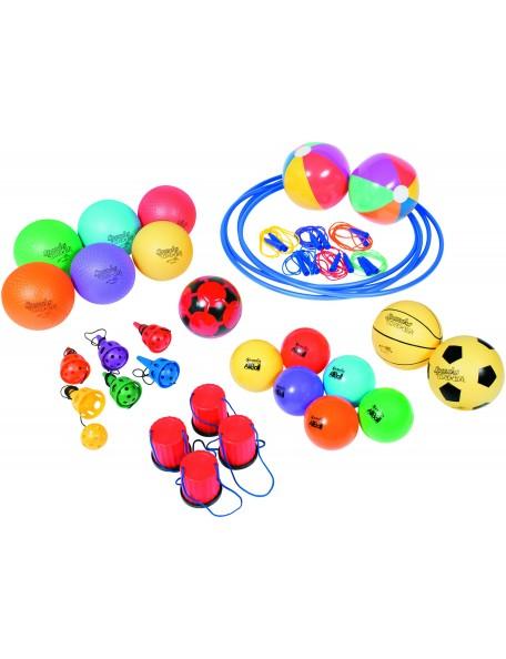 Kit de jeux récréatifs scolaires pour enfants. Matériel en kit de motricité, équilibre et mouvement