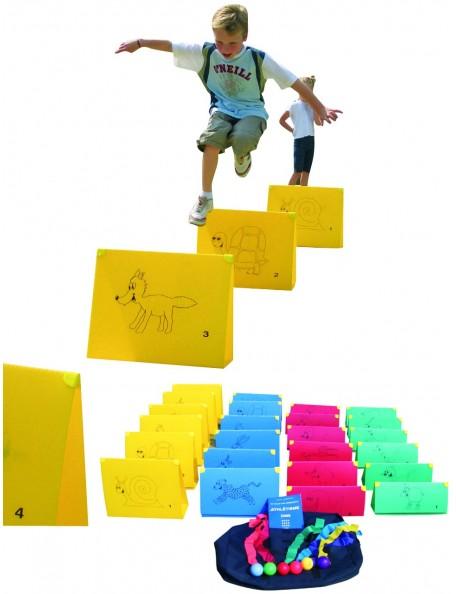 Kit athlétisme des animaux pour jeux de saut de haies enfants. Matériel pédagogique scolaire de saut de haies pour enfants
