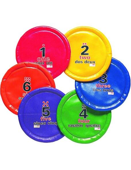 6 disques volants numérotés Spordas pour enfants, numérotés de 1 à 6 et multicolores pour apprendre à lancer tout en apprenant
