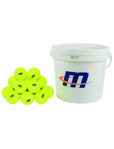 Seau de 48 balles de tennis pour les jeux de tennis scolaire des enfants. Balles couleur jaune pour tennis