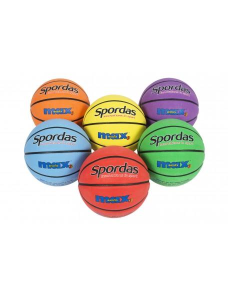 Lot de 6 ballons de basket-ball Spordas Max couleurs, pour jeux sportifs scolaires des enfants