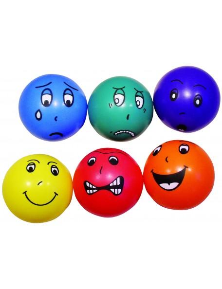 6 ballons émotions 20 cm Spordas pour jeux sportifs scolaires des enfants