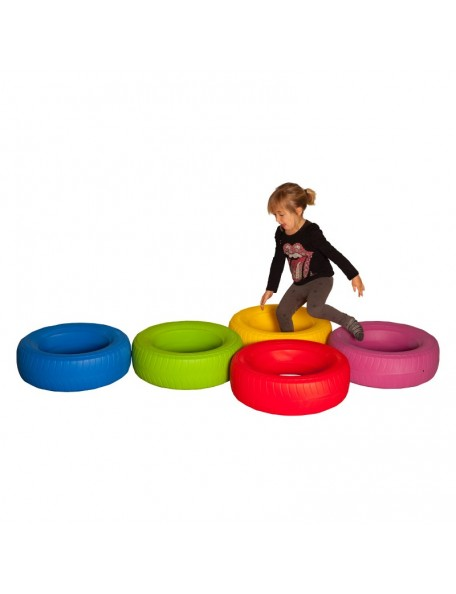 Pneus de motricité en plastique pour jeux de psychomotricité des enfants en crèche, à l'école maternelle et primaire