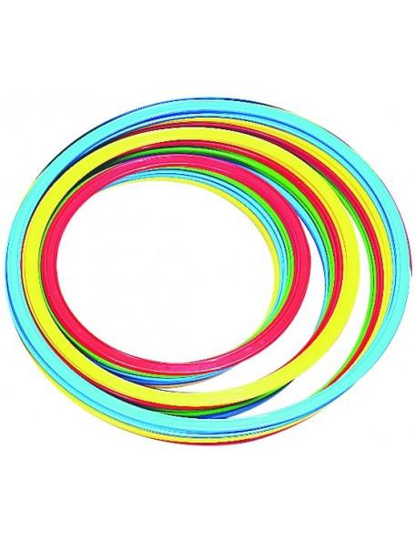 Lot de 4 cerceaux plats pour jeux sportifs scolaires. Cerceaux 35 cm, 40 cm de diamètre en plastique