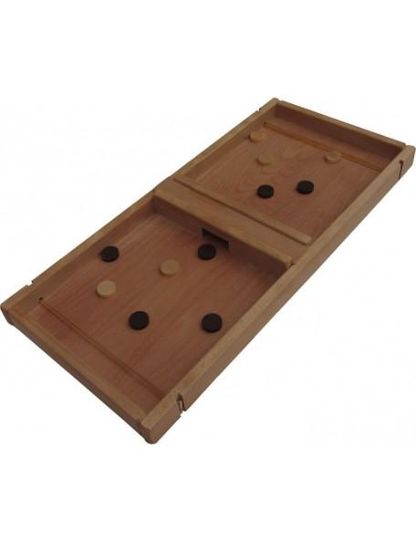 Jeu géant en bois du jeu de l'élastique. lancer les palets en bois à l'aide de l'élastique. Jeu géant en hêtre huilé