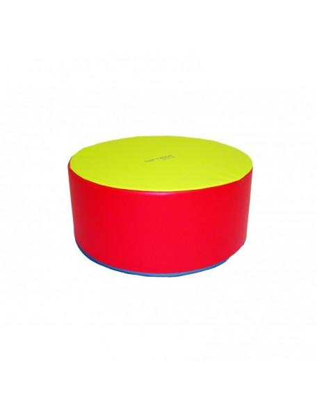 Pouf table Sarneige en mousse couleur jaune et rouge