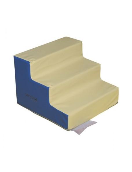 Module escalier 3 marches sans pvc maternelle marque Sarneige. Module de motricité en mousse pour les enfants.