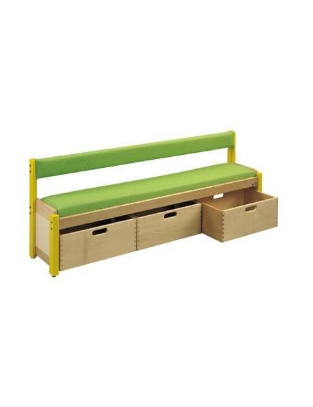 Banc avec dossier et 3 casiers de rangement. Mobilier en bois scolaire pour crèche et école maternelle