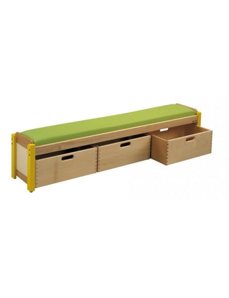 Banc simple en bois avec 3 casiers de rangement