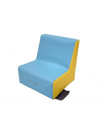 Fauteuil 1 place mousse Sarneige pour les enfants en crèche. Couleur bleu ciel et jaune.
