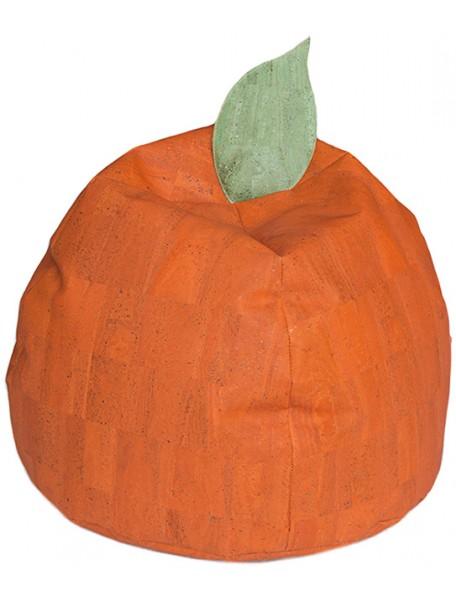 Pouf orange en liège écologique - 1