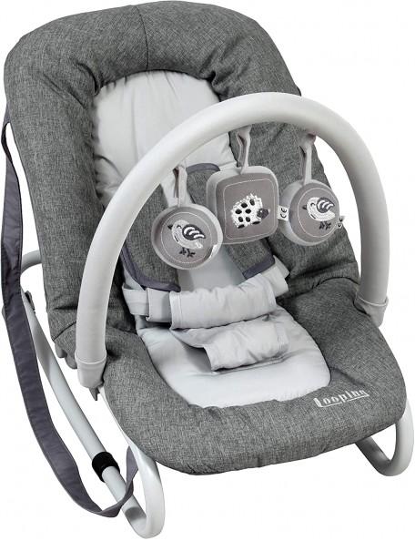 Transat balancelle avec harnais 5 points, gris Transat balancelle avec barre de jeux pour l'éveil de bébé. Le transat balancell