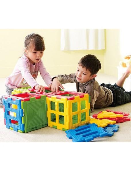 28 mini-blocs de construction pour la motricité des enfants. Matériel de blocs à assembler de psychomotricité en plastique