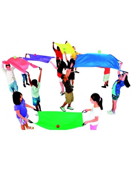 Jeu des 6 parachutes duo, matériel de lot de 6 parachutes duo pour jeux coopératifs des enfants